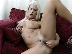 Tattooed blonde milf Blanche Bradburry is having fun indoors. She strips and strokes her nice body and then rubs her cunt and finger-fucks it.