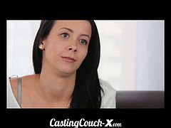 Pretty softball pitcher tries hard cock on the casting couch. She walks in and immediately strips her all to play with h er pussy then serves throbbing dick.