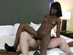 Zealous ebony tramp got her saggy vag seriously spoon way loped