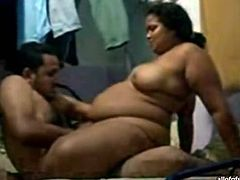 BBW Indian mommy is getting poked deep in her snatch in a missionary position. She then humps her big arse on top of solid pecker.
