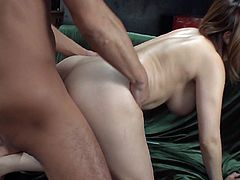 Big bottomed and busty Japanese gal Maika gets fucked doggy style