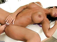 Kyra Black with big boobs shows lesbian sex tricks Angelica Heart with desire