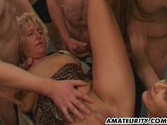 2 naughty amateur Milf suck and fuck a huge amount of dicks in this hot homemade gangbang ! Huge facial cumshots !