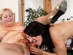 Maid and fatty mistress in a rough and dirty lesbian masturbation show