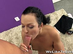 Amazing Nataly Bloo takes off her office clothes off. This cute girl gives a nice blowjob and then gets fucked from behind. This beauty also gets her mouth filled with a big load of cum.