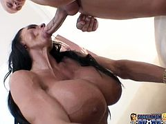 Big boobed and bootylicious brunette Lisa Lipps gets her holes hammered hard from behind and then she rides her man in reverse cowgirl pose.