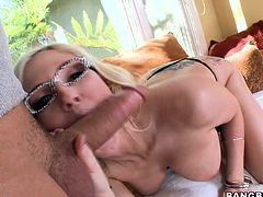Look at how skillfully this blonde slut sucks on cock. She struts across the front yard his her big ass peeking out. When she gets inside she does a little dance for him before she blows him hard. She deepthroats him and gets his whole dong into her pretty mouth.
