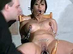 Asian needle sadism of Big-Titted asian Tigerr Juggs in x-rated piercing torture and gagged Oriental punishments