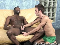 Share this with your friends! A gay dude uses his lovely hands to serve a handjob to a steamy black guy over a leather couch. They are on fire!