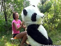 Cute dark haired girl hangs out in the woods and her huge toy panda gets her undressed and lets her suck his strap on cock.