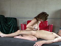 Lustful Asian MILF works her mouth intensively performing steamy blowjob in MMF threesome foreplay. She then rubs her boobs with oil and squeezes hard dick between her knockers. Sexy mamma is damn good in titjob. Check this out.