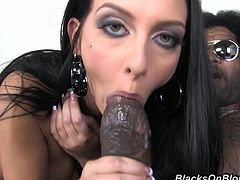 Watch this hot brunette wear sexy lingerie to stir up a black guy with a huge cock into ripping apart her tight pussy until she orgasms and he jizzes on her face.