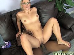 Click to watch this cougar, with natural breasts wearing glasses, while she goes hardcore over a couch and moans like a real pornstar!