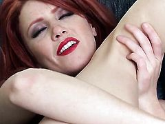 Elle Alexandra with small tits and shaved pussy cant live a day without fingering her twat
