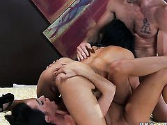 Nasty woman Ariella Ferrera  Breanna Sparks and hot dude Charles Dera are in the mood for fucking