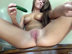 This sexy, busty amateur gets out the small cucumbers and stuffs them inside her pussy as she uses food to make herself cum.