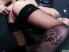 Johnny Sins buries his erect ram rod in hot Joslyn Jamess twat