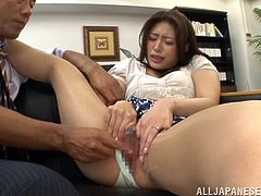 What a shinning and gorgeous one Kaori is! She gets naked and starts making out with this man! Oh, honey loves, when he pumps her with a dildo.