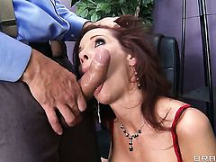 Syren De Mer with big jugs keeps her butt cheeks spread to be anally boned by Ramon
