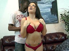 Make sure you have a look at this hardcore scene where the busty brunette Charity Bangs is fucked silly by a big black cock until she's filled by cum.