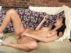 Brunette Kitty Jane shows it all and masturbates in closeup