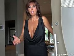 Busty wifey gives pov blowjob