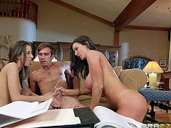 Belle Knox is a cute leggy teen babysitter. Busty brunette milf Kendra Lust and her husband find her sexy and lure her into fucking. Young slut sucks mans fat dick under his wifes control.
