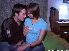 Amateur girl strokes a cock and gets her small tits licked. Then this Russian chick gives a blowjob to the boyfriend and get banged in both holes.