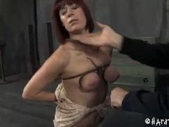 Odile is a brunette slut who came to PD for her BDSM training. He had fun tying her up in uncomfortable positions and whipping her pussy and tits. She was in pain.