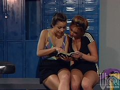 Felecia and Krista Mays are playing lesbian games in the locker room. They kiss and pet each other and then use a toy to satisfy each other.