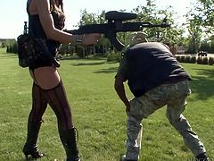 Long haired breath taking zealous sex bombs dressed in military outfit desperately invaded that long mellow chocolate sausage and tasted it deep throat. Enjoy this hot FFM fuck in Fame Digital sex clip!