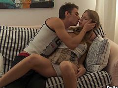 Light haired insatiable lady with big booty posed doggy style on sofa and got fucked hard. A little later her mouth suffered deep throat. Watch this dirty lassie in WTF Pass sex video!
