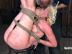 Sarah Jane tries to escape bondage. The memory of this punishment will keep her better than ropes or cages ever could.  In minutes she is begging for mercy, but PD will not give up until he is sure she has learned.