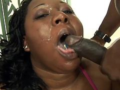 Fat black chick in fishnets gives a blowjob and also gets her vagina licked. Then this BBW gets fucked in a cowgirl position.
