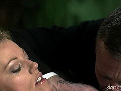 This slut sucks on this dude's throbbing pecker and then he licks her tits and eats out her pussy, check it out right here!