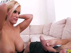 Mouthwatering blonde pornstar Shyla Styles gets naked and wraps her lips around a thick cock, wanna see?