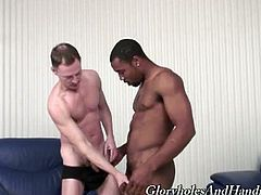A skinny white guy and a muscular black dude jerk off together and randomly touch each other. The white dude is charmed by the size of the black dude's cock.