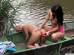 Lesbian teens Jeanine and Diana toying their tiny cooters at the lake. They can't get enough of each other and after using their favorite toys they are both ready to cum.