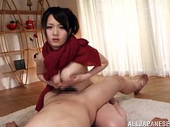What a shinning and horny Japanese babe Eri Hosaka is! Babe wants to squeeze that cock with er tits and she does it!