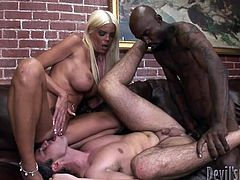 White and sexy chich with her husband gets fucked hard in their buttholes by the black cock. He fucked the man first who is licking his wifes clit. And than his wife. Watch in Fame Digital sex clip.
