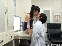 She's cute and slutty, way to slutty! This Asian doc thinks she knows it all but when Rin pays him a visit things change. The sweet, innocent looking schoolgirl plays with her find and his minds. She rubs his face with her sexy feet and then taunts the doc's dick, After that, she grinds her pussy on his face