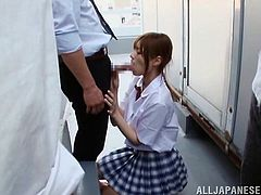 Rina is the classroom's slut. All the boys like her and they all wanna fuck her pretty mouth. One day, this guy finally had the guts to ask her head! Luckily, she knelt without hesitation and started to swallow his penis. Seeing that, his colleagues joined in and now the pretty chick has to make them all cum!