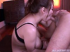 Hotomi is horny as fuck! She pulls off her sweater and reveals her massive breasts and then, she gets to work on riding some cock. Her boobs juggle as she is fucking her man and the lucky guy gets to experience a blowjob from this busty babe.