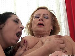 Have fun jerking off to this hot scene where these two horny mature ladies make you pop a boner as they have a lesbian moment.