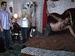 This party is nice but what happens behind the doors is even nicer. After a few drinks the hottie feels horny so this guy takes care of her. He massages her shoulders, kisses her and then puts his face between her long, sexy legs. He licks her hot cunt and then receives a mean blowjob. Enjoy the party!