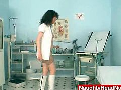 Naughty Head Nurses brings you a hell of a free porn video where you can see how a horny brunette mature dildos her hairy pussy into kingdom come while assuming very hot poses.