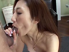 Yura Kasumi is a professional cum dumpster. Asian babe greedily blows four small hairy cocks and gets her filthy mouth filled with multiple loads of semen.
