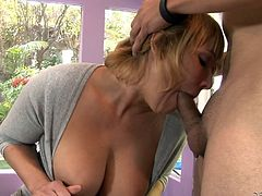 This guy is pleased with his wife, but he rather prefers his mother in law. Blonde and experienced, his mother in law sucks his cock better than his wife and boy, do they have some fun times together! Check them out, how they fuck this time and how the blonde lustfully opens her mouth to suck every inch he has.