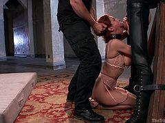 Redhead Veronica is in big trouble! The slutty milf messed with the wrong guys and now she's reeducated. Her process will be long and hard but when they will finish with her, Veronica will be a good, submissive woman. Stay with her and see how we play with her cunt and then shovel cock in her throat!