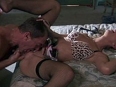 Brooke lets her long hair flow as her man fucks her face then drills her tight pussy before finally exploding all over her great tits.
